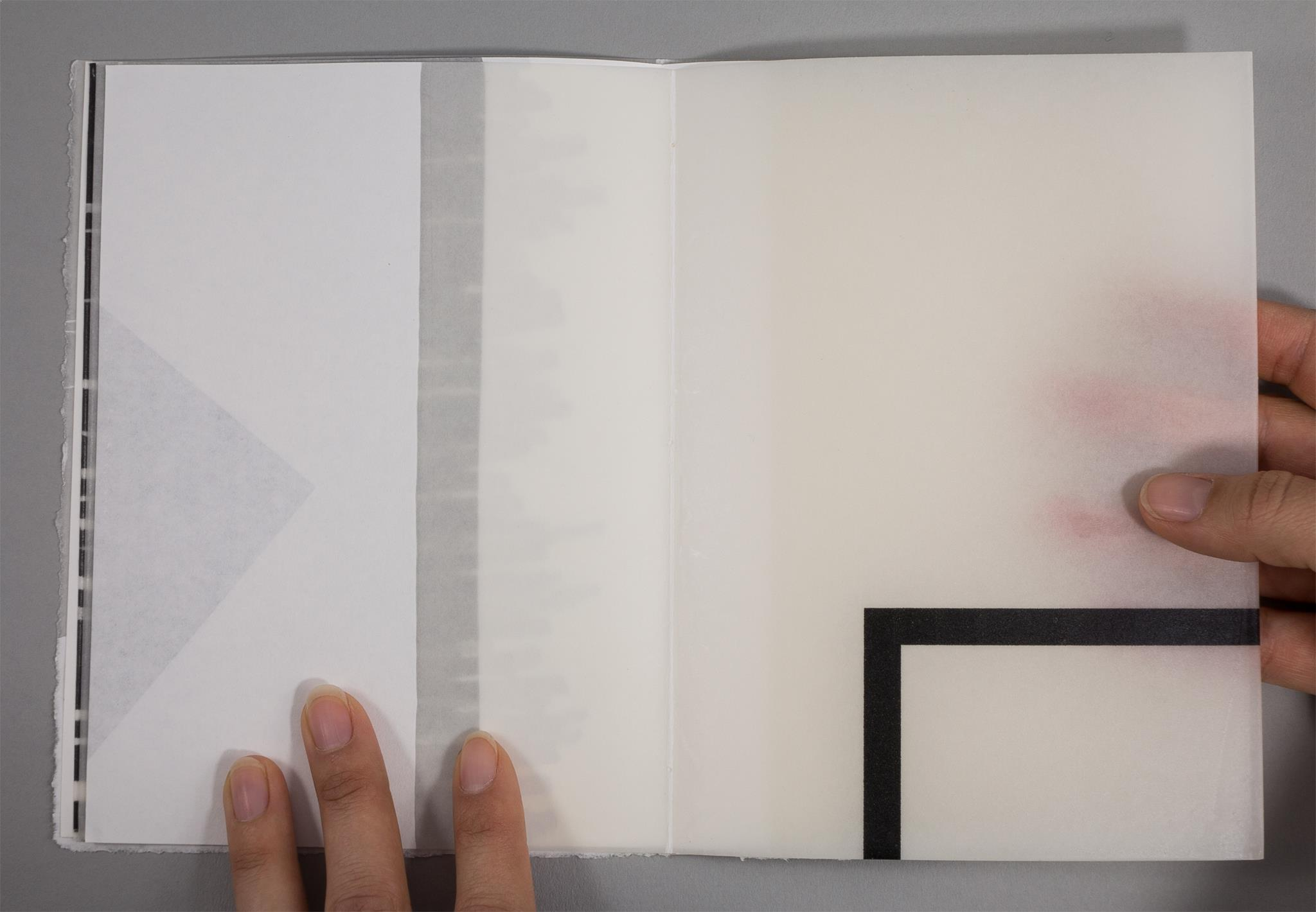 Artists book by Karen Bleitz created from paper, pencil and hot wax. With powerful simplicity this book takes us into the plexus of reading, printing and being.