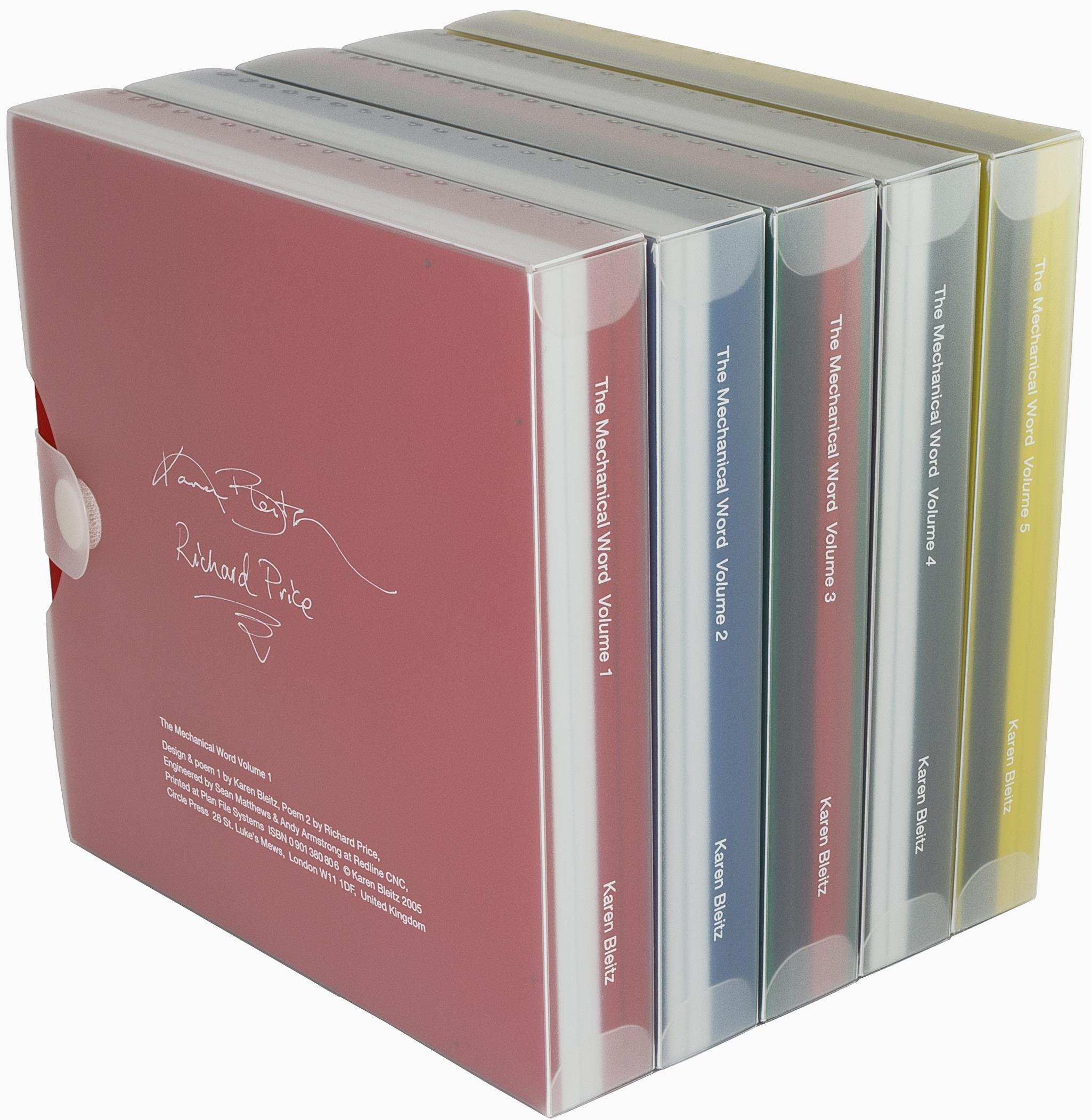Artists book series titled The Mechanical Word Volumes 1 through 5 by Karen Bleitz encased in polypropylene boxes.