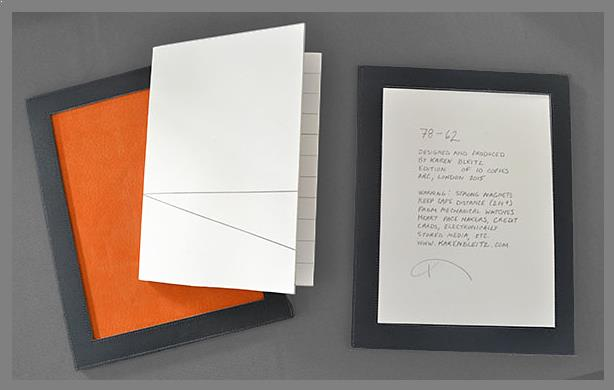 Artists book by Karen Bleitz entitled 78-62 Degrees. Image of the book with the covers and colophon.