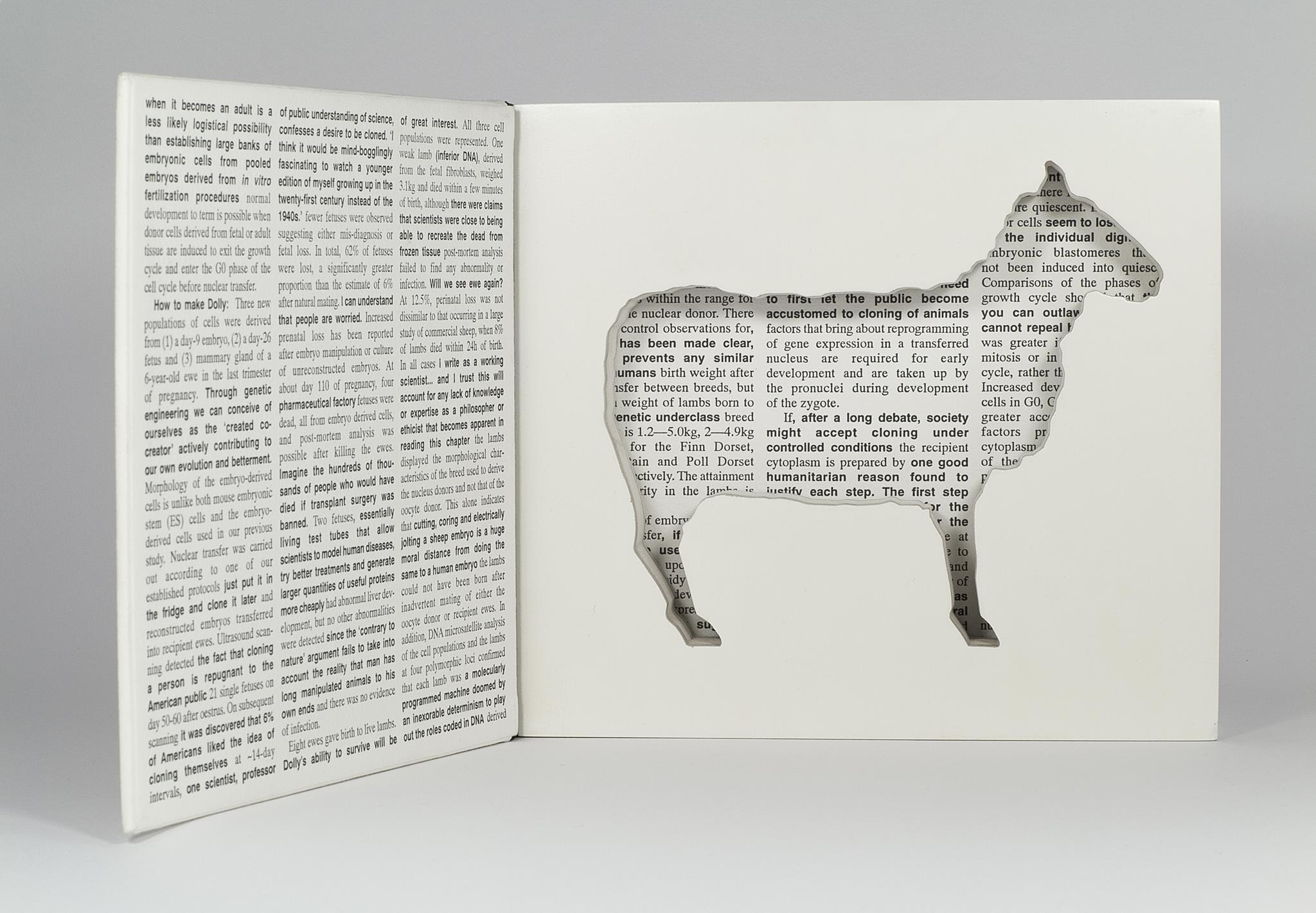 Full view of artist book Dolly: Edition Unlimited by Karen Bleitz, a pop-out jig-sawed book-work on the theme of the cloned sheep, Dolly, with a freestanding herd of sheep integrated into the form of the book.
