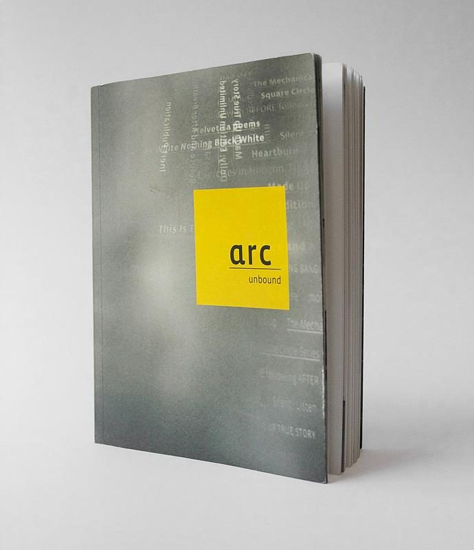 arc UNBOUND catalogue featuring artists books by Arc Editions artists Karen Bleitz, Sam Winston, Victoria Bean and Rick Myers. Full view of cover.