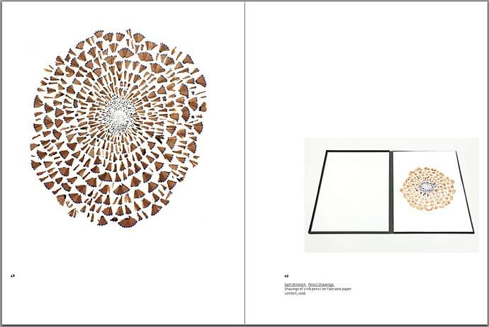 arc UNBOUND catalogue featuring artists books by Arc Editions artists Karen Bleitz, Sam Winston, Victoria Bean and Rick Myers. Full view of page spread.